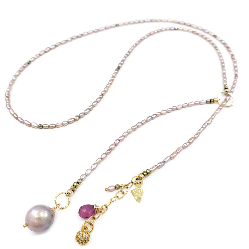 Long Pink Rice Pearls Lariat Necklace with Fireball Pearl