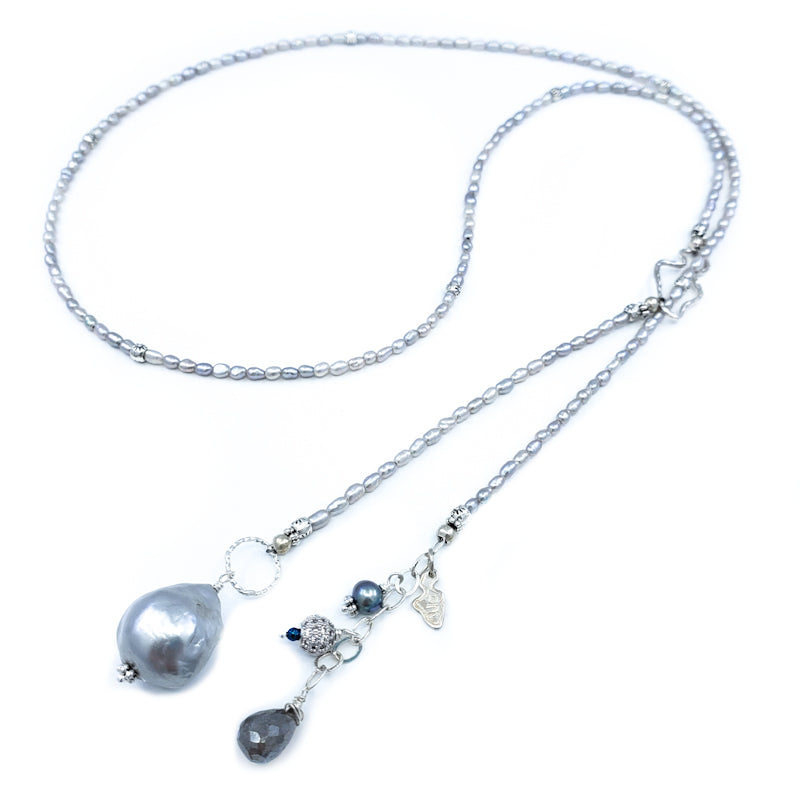 Long Gray Rice Pearls Lariat Necklace with Fireball Pearl