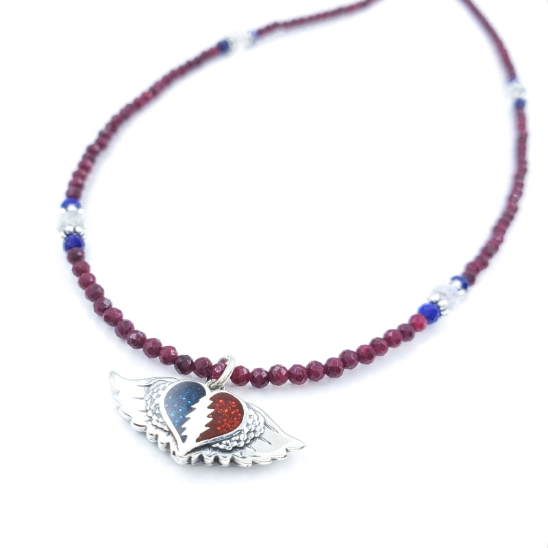 Sterling Silver Grateful Heart Necklace with Rubies