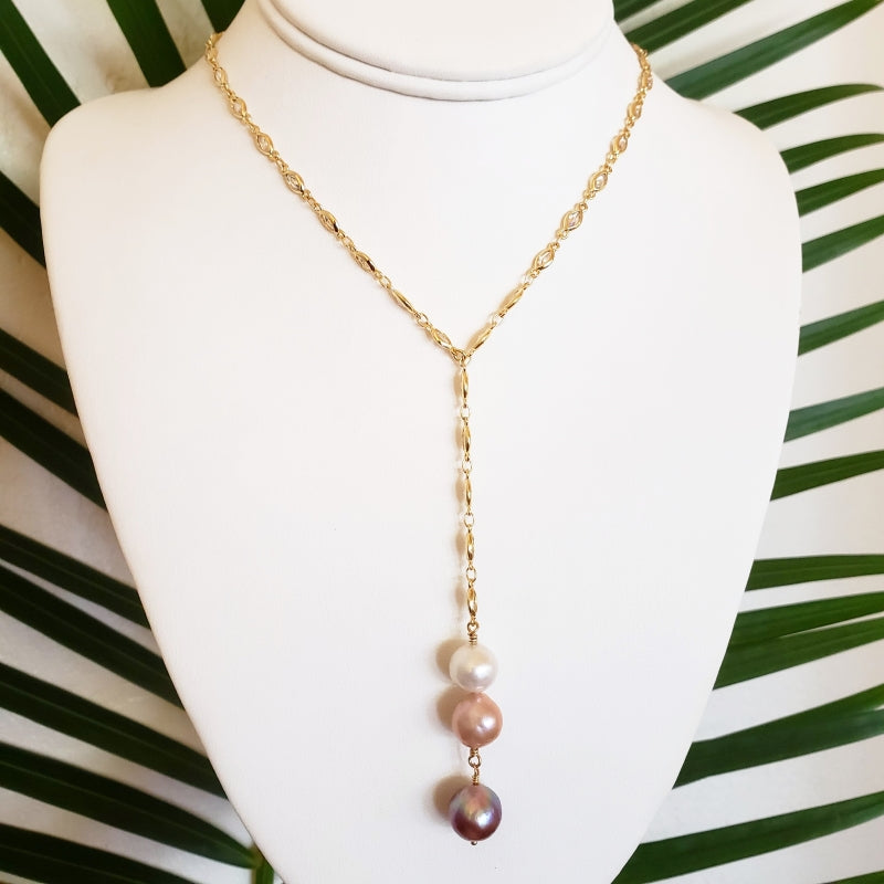 Gold Necklace with Cubic Zirconia Gems and 3 Fireball Pearls