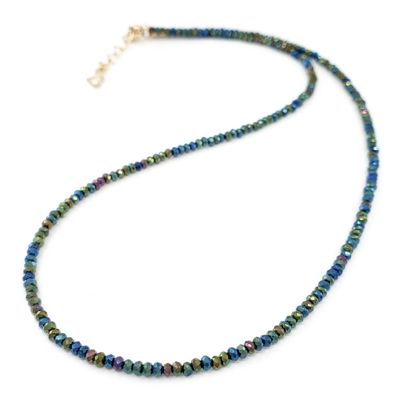 Sparkly dark green Hematite Gemstones Necklace with 14k Gold Filled clasp. Shimmers in blue, red, and purple tones when light hits it just right. Perfect for wearing by itself, layered with other necklaces, or to use instead of a chain with a pendant.