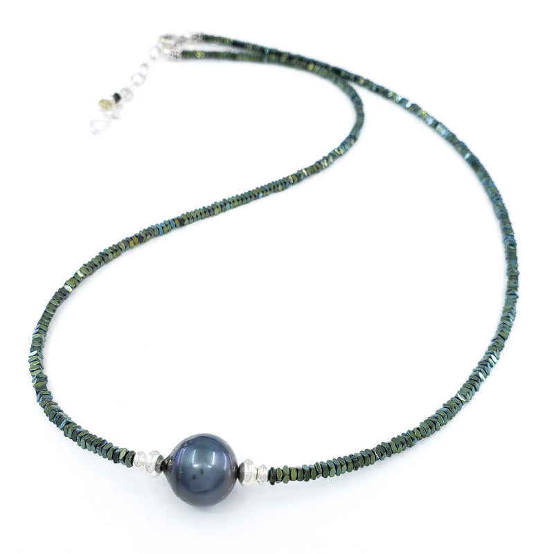 Green Hematite Necklace with 10mm Tahitian Pearl