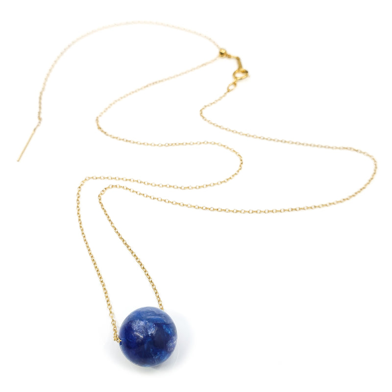 Adjustable Gold Solitaire Kyanite Necklace