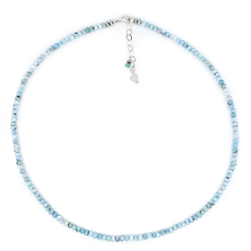 Beaded Larimar and Sterling Silver Necklace
