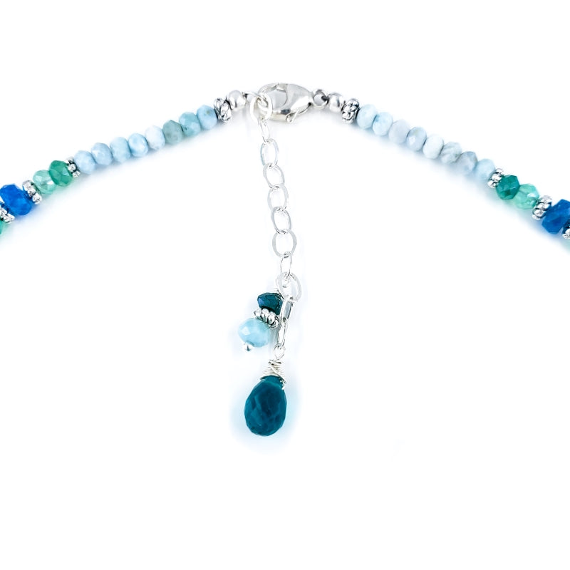 Sterling Silver Mermaid Necklace with Larimar and Apatite