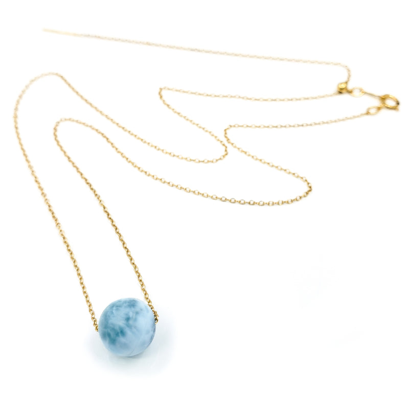 Adjustable Gold Solitaire Larimar Necklace