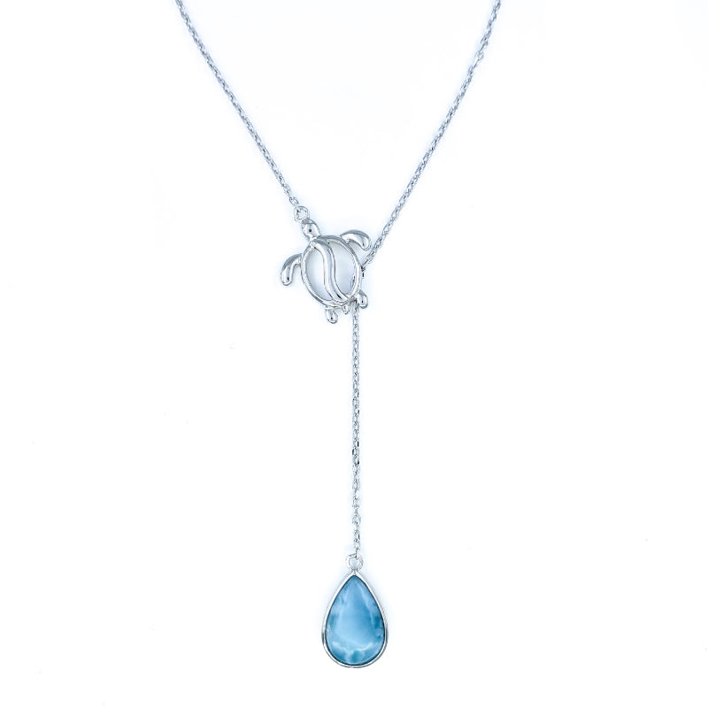 Sterling Silver Y-Style Necklace with Turtle and Larimar