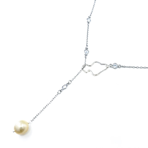Sterling Silver Maui Lariat Necklace with Golden South Sea Pearl