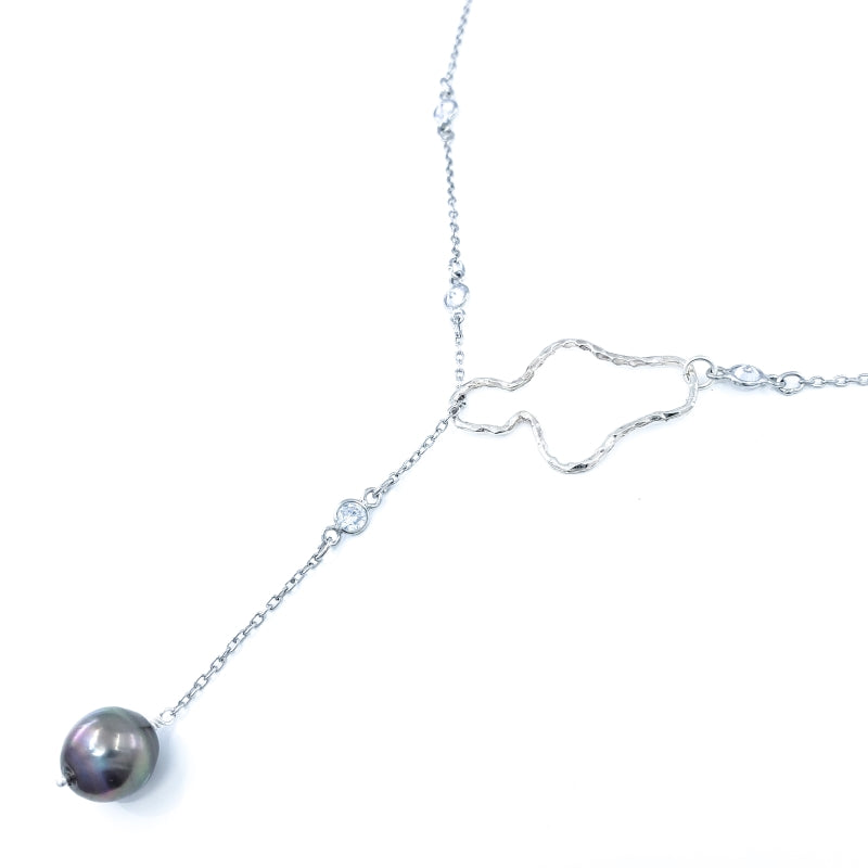 Sterling Silver Maui Lariat Necklace with Tahitian Pearl