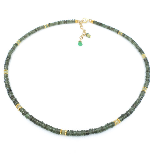 Moldavite and Emerald Gold Necklace