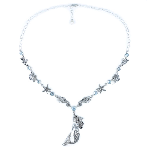 Sterling Silver Sealife Necklace with Blue Topaz