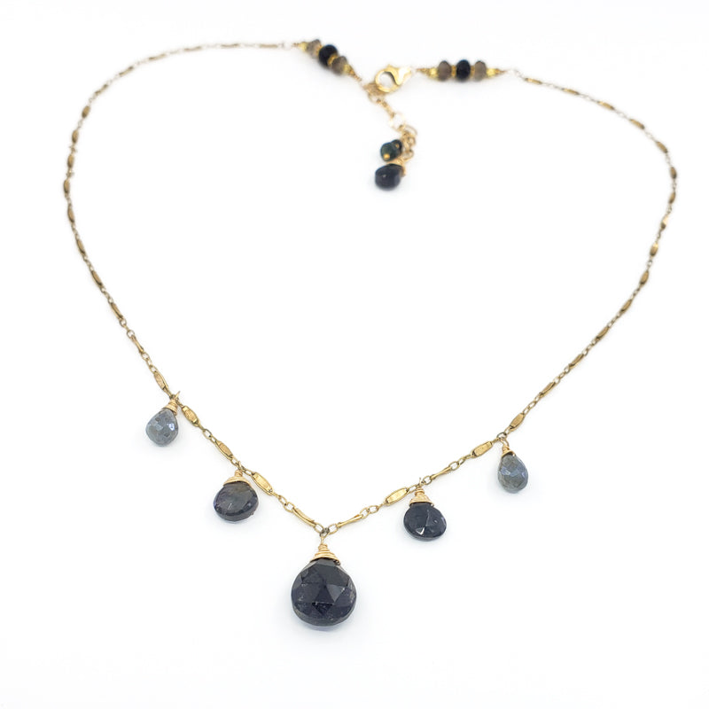 Black Onyx, Sapphire, and Mystic Labradorite Gold Necklace