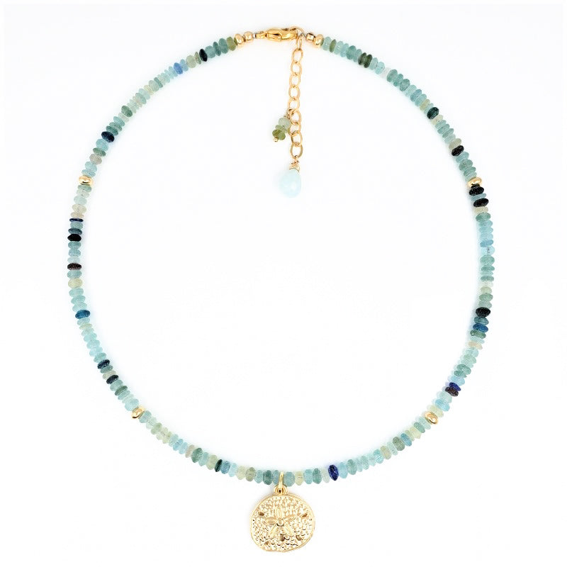 Roman Glass Necklace with Gold Sand Dollar