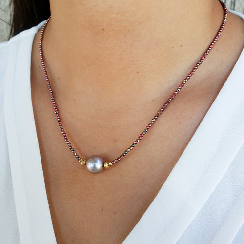 Red Hematite Necklace with 10mm Pink Freshwater Pearl