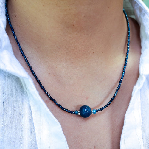 Blue Hematite Necklace with 10mm Apatite Bead