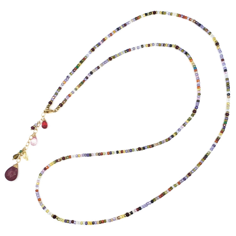 Long Multi Gemstones Necklace with Ruby