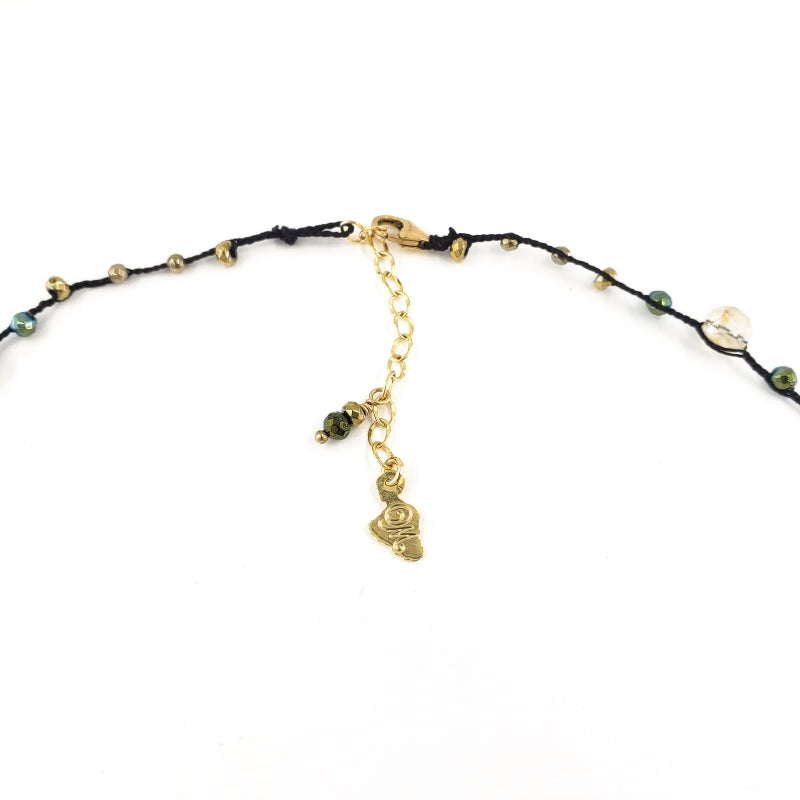 Black Braided Necklace with Green and Gold Gemstone Beads and Pyrite