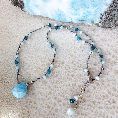 Gray Braided Necklace with Blue Gemstone Beads and Larimar
