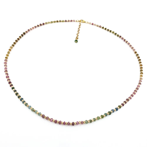 Watermelon Tourmaline Gold Necklace