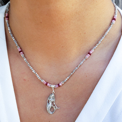 Sterling Silver Mermaid Necklace with Quartz and Ruby