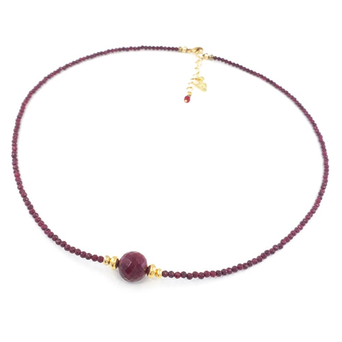 Rubies Necklace with 8mm Faceted Ruby