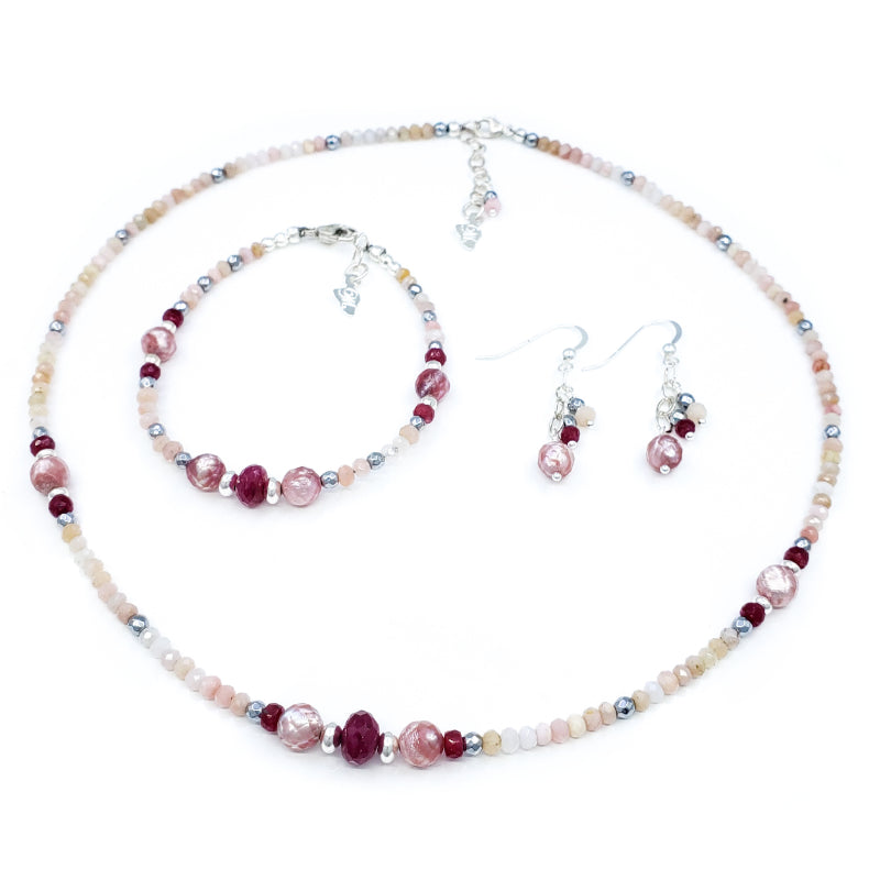 Pink Opal and Rubies Silver Necklace, Bracelet, and Earrings Set