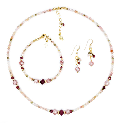 Pink Opal and Rubies Gold Necklace, Bracelet, and Earrings Set