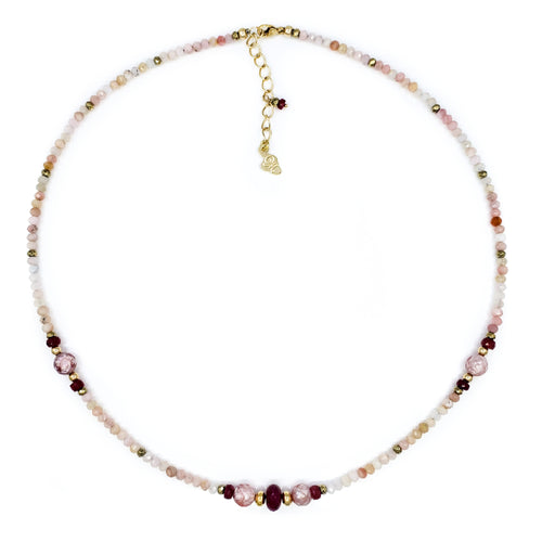 Pink Opal and Rubies Gold Necklace