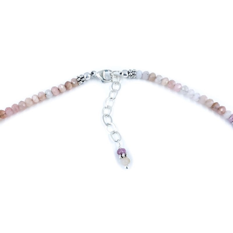 Sterling Silver Mermaid Necklace with Pink Opal