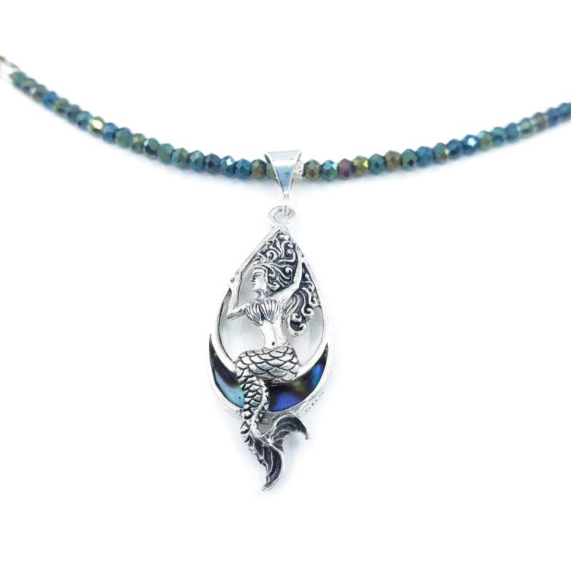 Sterling Silver Mermaid Necklace with Hematite