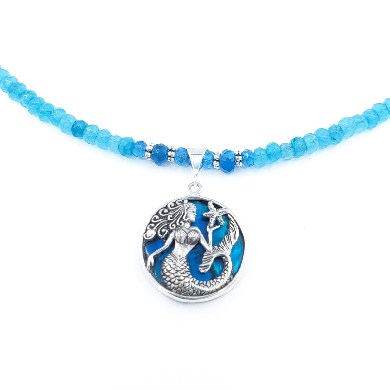 Sterling Silver Mermaid Necklace with Apatite