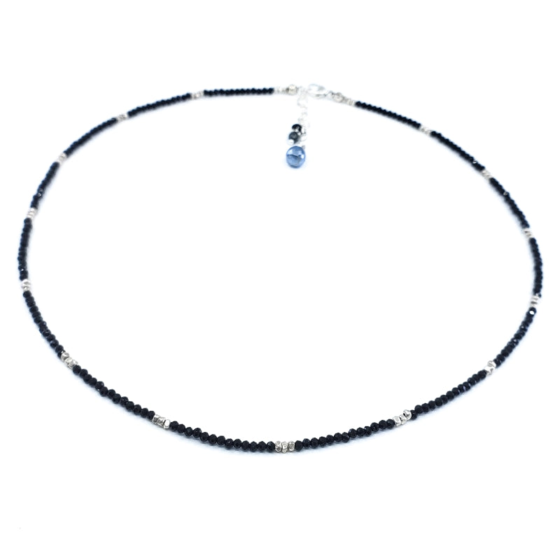 Black Spinel Necklace with Silver Beads