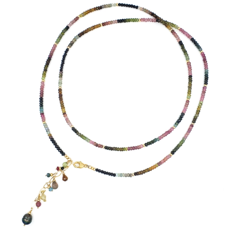 Long Tourmaline Gold Necklace with Tahitian Pearl