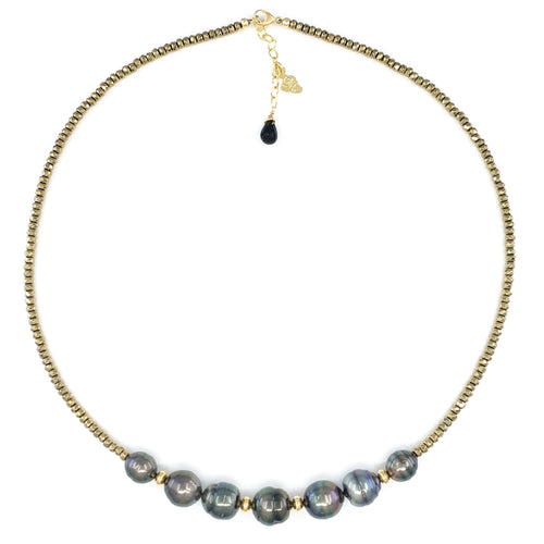 7 Tahitian Pearls & Pyrite Necklace