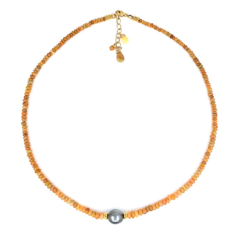 Ethiopian Opal Necklace with 9mm Tahitian Pearl