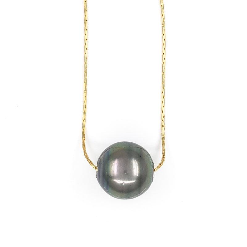10mm Single Tahitian Pearl Solitaire Necklace
