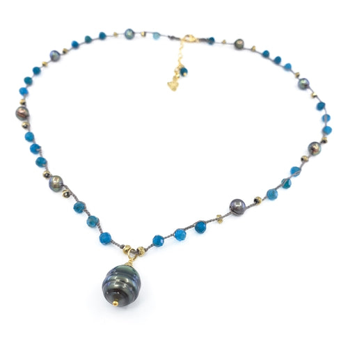 Gray Braided Necklace with Blue and Gold Gemstone Beads and Tahitian Pearl