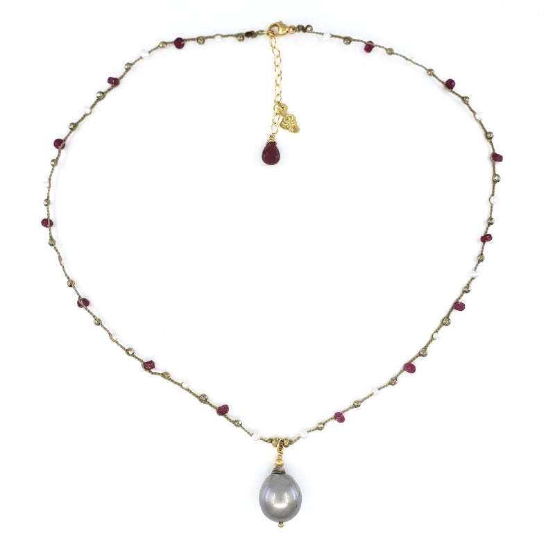 Taupe Braided Necklace with Red and Gold Gemstone Beads and Tahitian Pearl