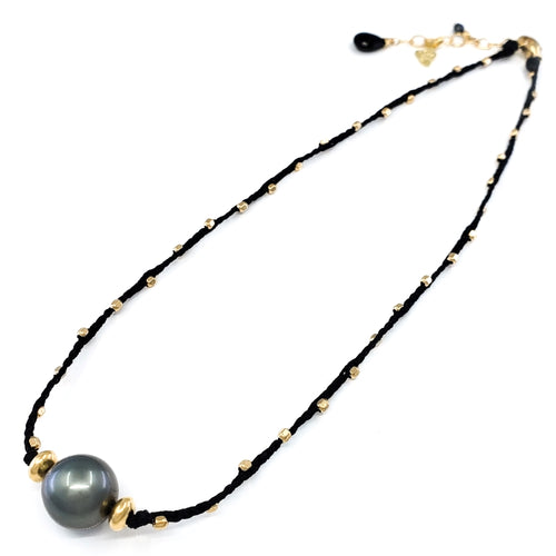Braided Necklace with 11mm Tahitian Pearl