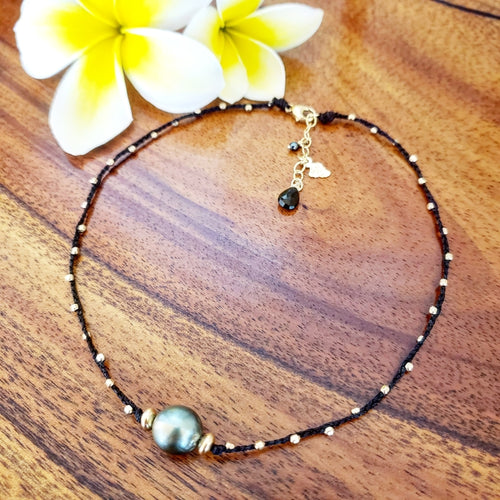 Black Braided Necklace with 11mm Tahitian Pearl