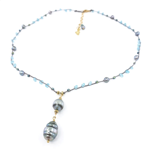 Gray Braided Necklace with Blue Gemstone Beads and 2 Tahitian Pearls