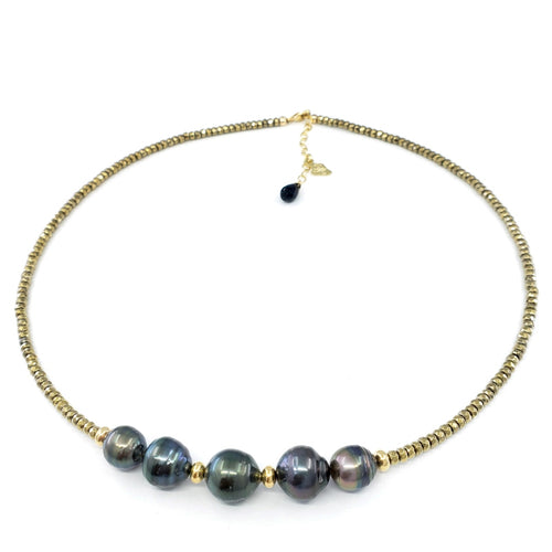 5 Tahitian Pearls & Pyrite Necklace