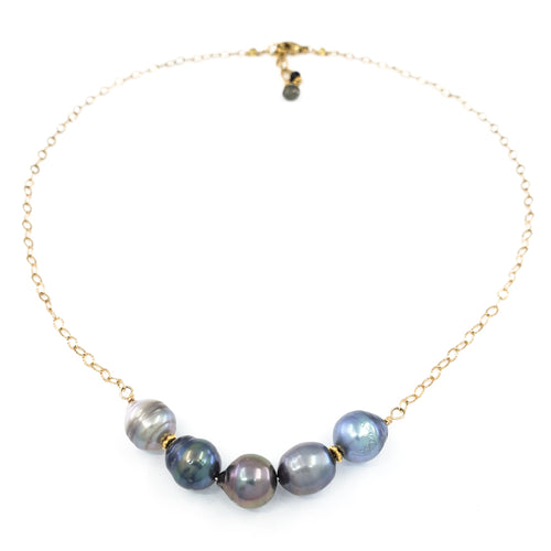 5 Tahitian Pearls Gold Necklace