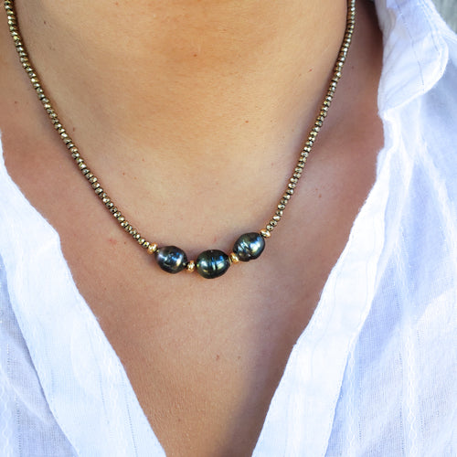3 Tahitian Pearls & Pyrite Necklace