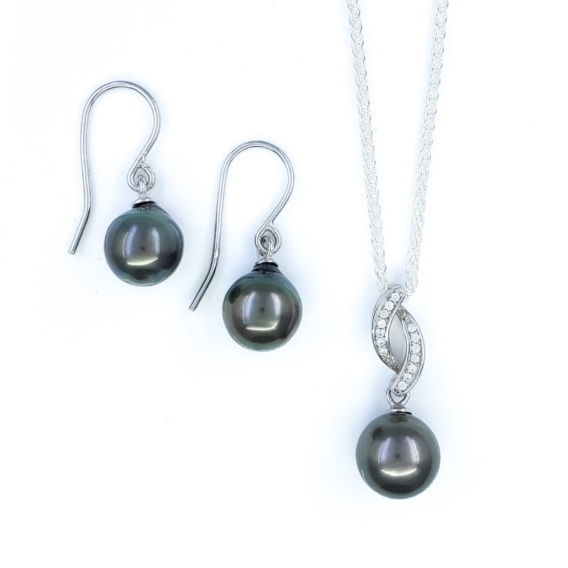 Aubergine Tahitian Pearls Necklace and Earrings Set with Cubic Circonia