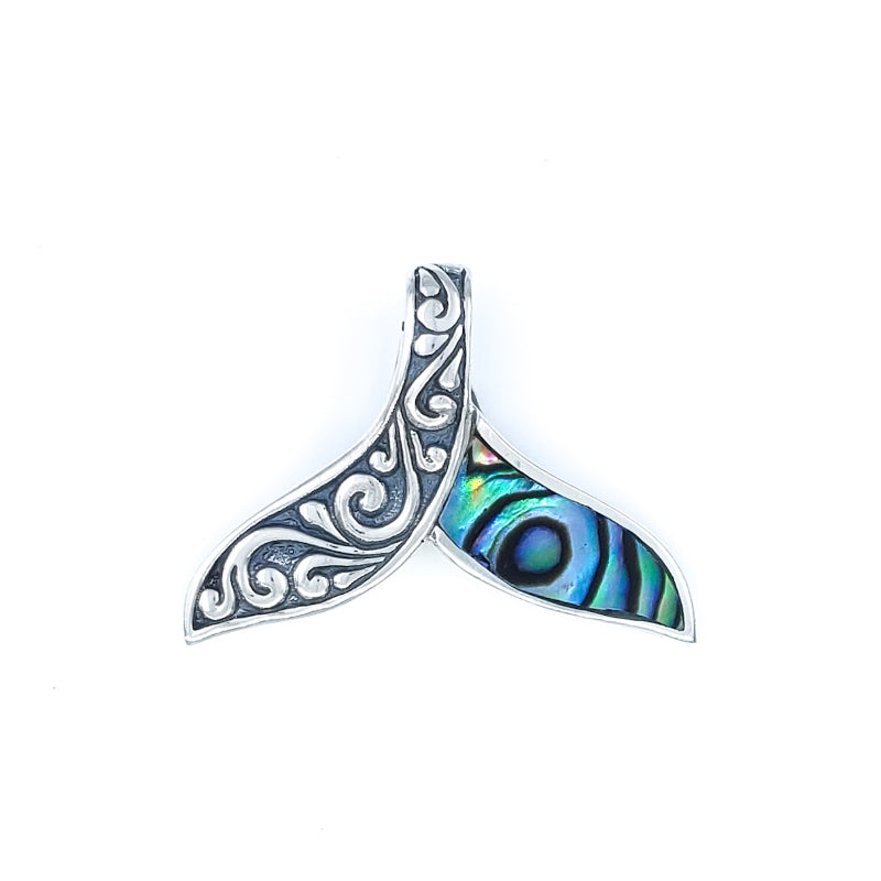 Ornate Silver Whale Tail Pendant with Abalone