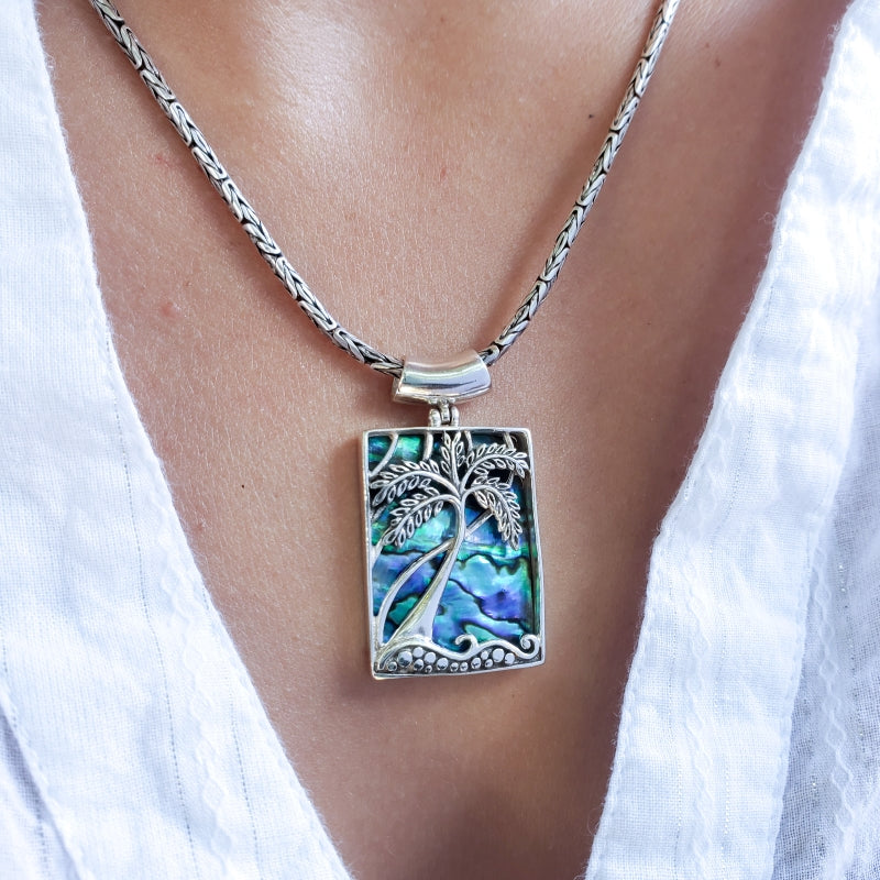 Rectangular Palm Tree Pendant with Abalone