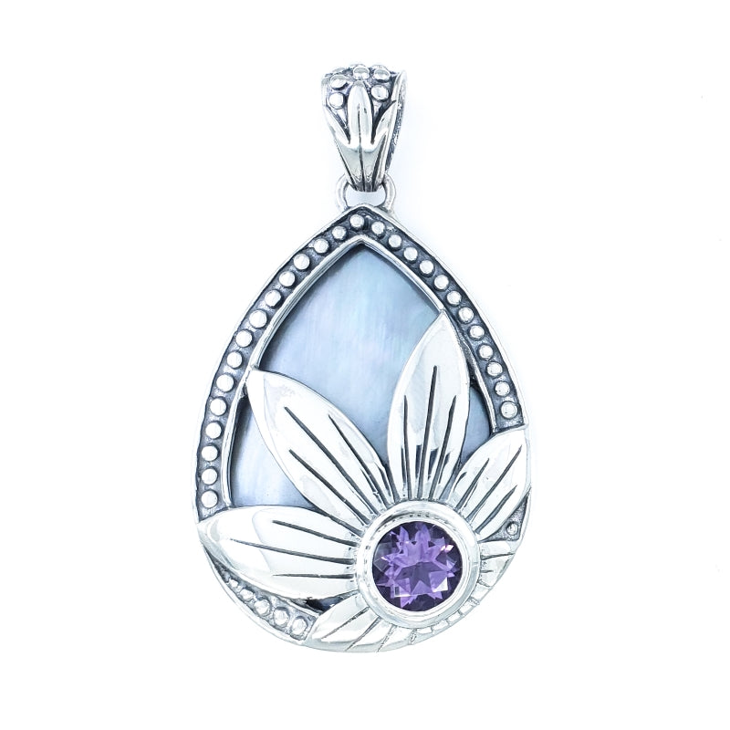 Mother of Pearl Pendant with Amethyst