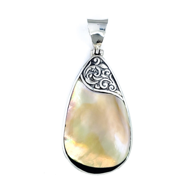 Medium Sunset Shell Droplet Pendant with Filigree