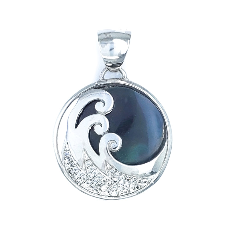 Delicate Wave Pendant with Black Shell & Cubic Zirconia